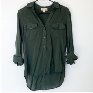 Anthropologie Cloth & Stone Forest Green Button Up